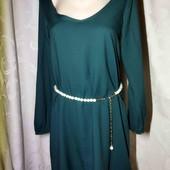 Изумрудное шифоновое платье от Zara.