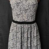 Трикотажное бежевое платье с принтом под кружево, вискоза,L/xl
