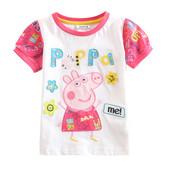 Крутая хлопковая футболочка свинка пеппа на рост 110 см
