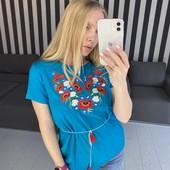 Красивенные яркие футболки-вышиванки с поясочком