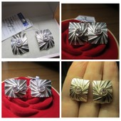 Распродажа!Роскошные крупные сверкающие серебряные серьги- 925 пр. .Новые с биркой!