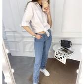 Модные женские джинсы с бусинами