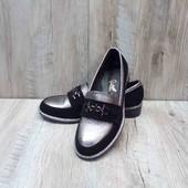 Женские туфли из натуральной замши и кожи