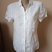 Фірменна біла блузка(льон) стан нової, 10% знижка на УП