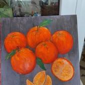 "Авторская картина , ""Апельсины"",р.30на30, кухонный натюрморт"