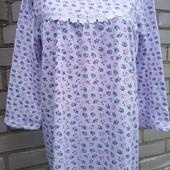 Ночная женская ночная рубашка утепленная на байке,100% хлопок.