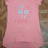 Персикова футболка-туніка з перлинами