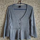 38р. Серая кофта-блузка с люрексом и баской Esprit