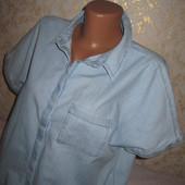 Стильная джинсовая рубашка 12р., грудь 58, 100% коттон