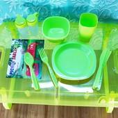 Набор для пикника на 4 персоны столик и посуда 27 предметов | Походный набор для пикника | Туристиче