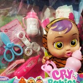 Пупс Cry babies со звуковыми эффектами,аксессуарами 30 см| Пупс Cry babies|Детский пупс|
