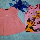2 красивых футболочки,на девочку 4-6 лет
