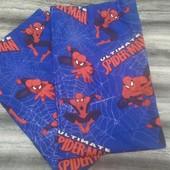 Яркие шторы на подкладке, из натуральной ткани в детскую Spiderman, 2шт х135х168 см.