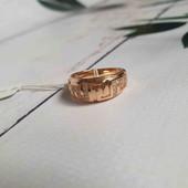 Позолоченное кольцо с греческим орнаментом p.16 позолота 585 пробы 18 карат