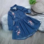 Стоп!Джинсовое платье-рубашка с вышивкой отличное состояние