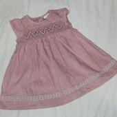 Платье для девочки 3-6 месяцев пепельно розового цвета