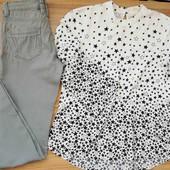 сірі скіні + біла блуза в принт
