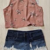 Блуза кроп топ+шорты S