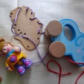 Лот игрушки для самых маленьких: трещетка, шнуровка, каталка