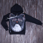 Джемпер с капюшоном размер 134-140 рисунок светится в темноте амонг ас, волки майнкрафт