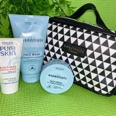 Набор Essentials by Oriflame: очищающее средство, крем и маска для лица, косметичка.