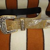 Очень стильный и нарядный ремень в цвете золотой песок.