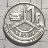 Монета Бельгии 1 франк 1989