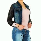 Sale!Джинсовая куртка с кожанными рукавами Mozzaar (Европа), размер М (38)