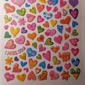 Наклейки выпуклые сердечки. 75 стикеров