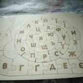 2 в 1  Дерев'яний равлик-пазл Алфавіт - Абетка!