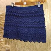 Красивая нарядная яркая тёмно-синяя юбка с плотным ажуром на стрейчевом подкладе р.14 Акция читайте