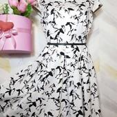 Платье миди коттоновое пышная юбка р 14