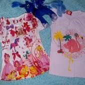 Красивый комплект футболочек,на девочку 3-5 лет