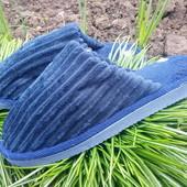 классные мужские тапки 42/43р.цвет темно синий