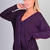 Стильная женская кофточка с люрексом. размер универсальный 44-52. серая, фиолетовая
