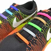 Цветные яркие силиконовые шнурки. 12 штук