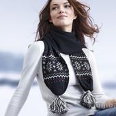 ☘ Шикарний шарф в норвезькому стилі з помпонами Tchibo (Німеччина), розмір приблизно 210 x 45 см