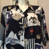 Блузка рубашечный крой, 50, 100% вискоза, Морская тематика