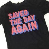 Детская чёрная футболка с надписью на на 2-3 года рост 98/104