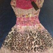 Новое! Красивое нарядное платье с кружевом, креп шифон + кружево 40-42/XS-S, цв.малина