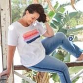 женская футболка хлопок с принтом blue motion германия р. 54/56