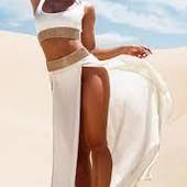 ❤️PrettyLittleThing Англия❤️кремовая шифоновая стильная пляжная юбка евро 42