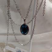 шикарный и изящный набор цепь+кулон с кристаллом Swarovski, цвет синий джинс, родий