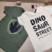 Германия! Суперовые коттоновые футболки, футболка для мальчика, с динозаврами! 2 шт! 98/104!