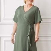 ❤️Esmara Германия❤️модное платье нежное оливковое летняя костюмная ткань евро 54 укр.60