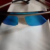 Солнцезащитные очки, голубые зеркальные, UV400, читайте
