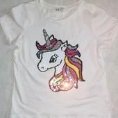 ♥️Новая фирменная футболочка с единорожком H&M♥️на девочку 3-4лет, 104см
