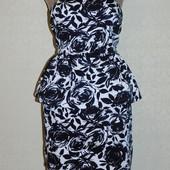 Красивое платье-бюстье Apricot с баской, сост. отличное. Размер 12/М.