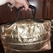 Классная модная дутая сумка супер забираем золото