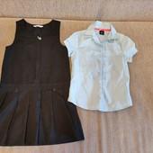 Сарафан и блузка школьная на 6-7 лет одним лотом